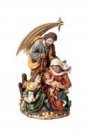 Sacra Famiglia in resina con cometa (cm. 12x22)