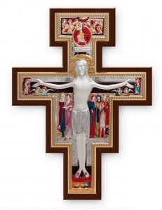 Copertina di 'Croce di San Damiano in legno e bilaminato d'argento - dimensioni 26x18,5 cm'