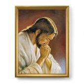 """Quadro """"Cristo orante"""" di Parisi con lamina oro e cornice dorata"""