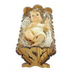Copertina di 'Gesù Bambino con culla in legno d'ulivo - dimensioni 13x6 cm'