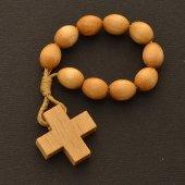 Immagine di 'Rosario decina francescana in legno chiaro'