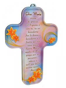 """Copertina di 'Croce """"Ave Maria"""" su sfondo rosa (9x13)'"""