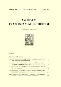 Archivum Franciscanum Historicum n. 2014/1-2