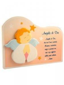 """Copertina di 'Nuvoletta in legno """"Angelo di Dio"""" rosa - dimensioni 15x20 cm'"""