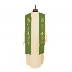 Copertina di 'Stola verde con ricamo a fiori e cristogramma IHS'