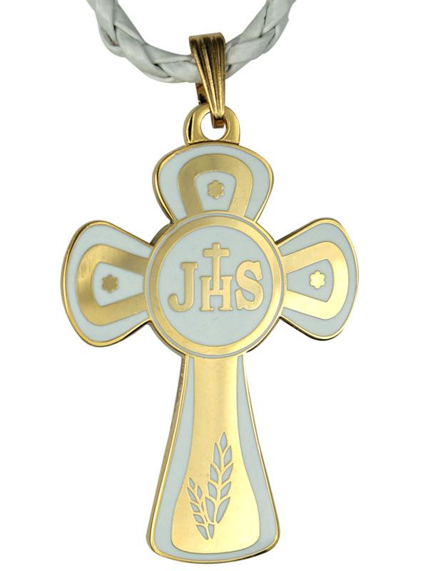 Super Croce ricordo della Prima Comunione, in polimero, cordoncino  FE59