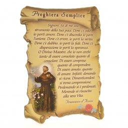 """Copertina di 'Quadretto a forma di pergamena con piedino da appoggio """"Preghiera Semplice"""" (10 x 7)'"""