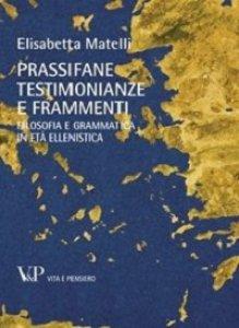 Copertina di 'Prassifane: testimonianze e frammenti'