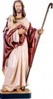 Gesù buon pastore senza pecore - Demetz - Deur - Statua in legno dipinta a mano. Altezza pari a 80 cm.
