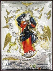 Copertina di 'Quadretto Bassorilievo di Maria che scioglie i nodi, argento 999 e dettagli colorati (19,5 x 26 cm)'