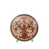 """Patena in ceramica simbolo TAU """"Modello Deruta Marrone oro graffito"""" - 15 cm"""