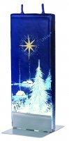 Candela natalizia in cera blu con paesaggio innevato 15 x 6 cm