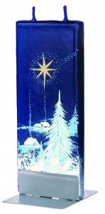 Copertina di 'Candela natalizia in cera blu con paesaggio innevato 15 x 6 cm'