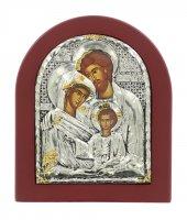 Immagine di 'Icona Sacra Famiglia con riza resinata color argento - 12,5 x 10,5 cm'
