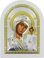 Icona Madonna di Kazan Greca a forma di arco con lastra in argento - 10 x 14 cm