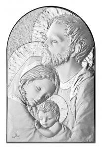 Copertina di 'Quadro Sacra Famiglia a forma di arco con lastra in argento - Bassorilievo - 12 x 8 cm'