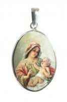 Medaglia ovale con profilo in argento 925 - Madonna con Bambino