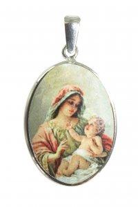 Copertina di 'Medaglia ovale con profilo in argento 925 - Madonna con Bambino'