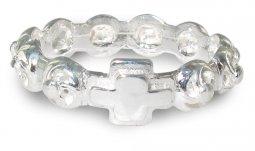 Copertina di 'Rosario anello in argento 925 con 10 roselline misura italiana n°13 - diametro interno mm 17 circa'