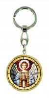 Portachiavi angelo in preghiera in legno ulivo con immagine serigrafata - 4 cm