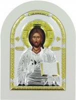 Icona Cristo con libro aperto Greca a forma di arco con lastra in argento - 20 x 26 cm