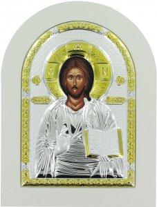Copertina di 'Icona Cristo con libro aperto Greca a forma di arco con lastra in argento - 20 x 26 cm'