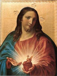 Copertina di 'Tavola Sacro Cuore di Gesù di Pompeo Batoni stampa su legno - 28 x 21 cm'