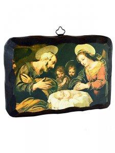 """Copertina di 'Icona in legno massello """"Natività con angeli"""" - lunghezza 15 cm'"""