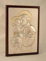 """Quadro in legno con placca d'argento """"Sant'Antonio"""" - dimensioni 28x20 cm"""