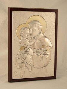 """Copertina di 'Quadro in legno con placca d'argento """"Sant'Antonio"""" - dimensioni 28x20 cm'"""