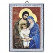 """Icona con cornice azzurra """"Sacra Famiglia"""" - dimensioni 14x10 cm"""