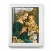 """Quadro """"Madonna col Bambino e angeli"""" di F. Lippi con lamina oro e cornice con decorazione a sbalzo"""