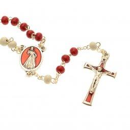 Copertina di 'Rosario con grani in legno bianchi e rossi e libricino'