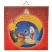 """Piastrellina rossa """"Natività con palla di Natale blu"""" stile classico - dimensioni 10x10 cm"""