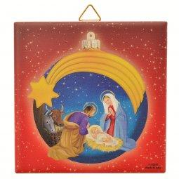 """Copertina di 'Piastrellina rossa """"Natività con palla di Natale blu"""" stile classico - dimensioni 10x10 cm'"""