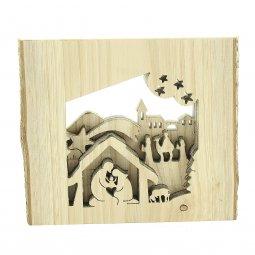 """Copertina di 'Corteccia con """"Presepe e Re Magi"""" tridimensionale intagliato - dimensioni 11x11 cm'"""