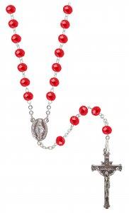 Copertina di 'Rosario cristallo sfaccettato opacizzato con grani mm 6 color rosso legatura in argento 925'