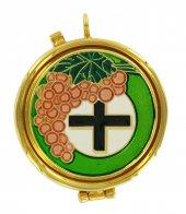 Teca eucaristica ostie modello uva e croce - Ø 5 cm