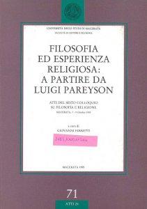 Copertina di 'Filosofia ed esperienza religiosa: a partire da Luigi Pareyson'