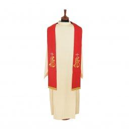 Copertina di 'Stola rossa con croce argento e cristogramma IHS dorato'