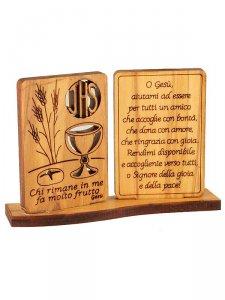 Dittico da tavolo per comunione inciso in legno d 39 ulivo - Tavolo per prima comunione ...