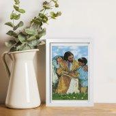 """Immagine di 'Quadretto """"Gesù e i bambini"""" con passe-partout e cornice minimal - dimensioni 15x10 cm'"""