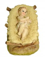 Gesù Bambino con culla rettangolare Linea Martino Landi - presepe da 10 cm