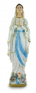 Copertina di 'Statua Madonna di Lourdes in gesso madreperlato dipinta a mano - 40 cm'