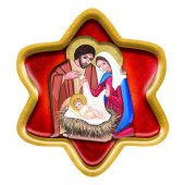Stella in legno rosso da appendere con Natività in lamina oro - dimensioni 10,5x9,5 cm