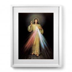 """Copertina di 'Quadro """"Gesù Misericordioso"""" con passe-partout e cornice minimal - dimensioni 53x43 cm'"""