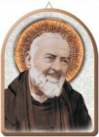 Tavola San Pio stampa su legno ad arco - 15 x 20 cm