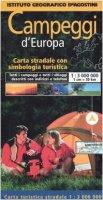 Campeggi d'Europa. Carta stradale con simbologia turistica. 1:3.000.000