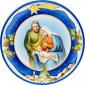 """Piatto natalizio blu effetto ceramica """"Natività"""" - diametro 13 cm"""