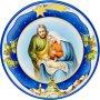 Piatto natalizio blu effetto ceramica